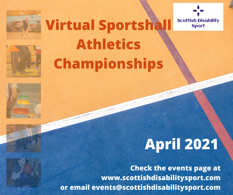 A poster with a background of an athletics track, displaying the SDS logo and details of the dates, name and email address for the